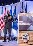 Defense Logistics Agency Director Lt. Gen. Darrell Williams speaks during the 2018 Defense Logistics Agency Land and Maritime Supplier Conference and Exposition June 19 in downtown Columbus, Ohio.