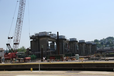 Work continues at Lock and Dam 4 on the Monongahela River at Charleroi.