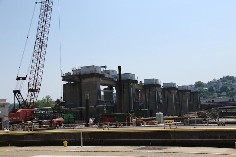 Work continues at Lock and Dam 4 on the Monongahela River at Charleroi.