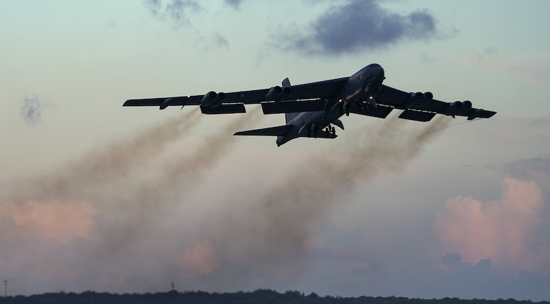 A U.S. Air Force B-52H Stratofortress bomber assigned to the 20th Expeditionary Bomb Squadron, deployed from Barksdale Air Force Base, La., takes off from Andersen AFB, Guam, in support of a routine Continuous Bomber Presence (CBP) mission over south-east Queensland, Australia, June 19, 2018 (HST).