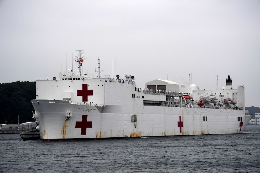 USNS Mercy (T-AH 19) pulls into port at Fleet Activities Yokosuka. Mercy is making port visits to Yokosuka and Tokyo to promote relationships between U.S. Navy Sailors and Japanese citizens through cultural exchange and bilateral training.