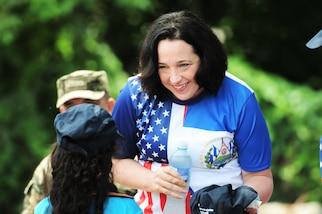 U.S. Ambassador in El Salvador Jean Elizabeth Manes meets with a Salvadoran student.
