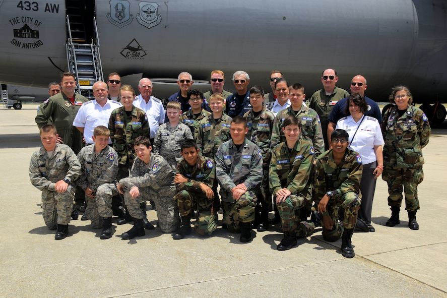 Members of the U.S. Air Force Civil Air Patrol pose with Col. Thomas K. Smith Jr., 433rd Airlift Wing commander, and members of the crew by a C-5M Super Galaxy aircraft after an incentive flight from Joint Base San Antonio-Lackland, Texas, June 8, 2018. As the official Air Force auxiliary, the CAP has approximately 57,000 volunteers and 550 aircraft assigned to more than 1,500 units stateside available or currently supporting non-combat missions on behalf of the Air Force. (U.S. Air Force photo by Staff Sgt. Lauren M. Snyder)