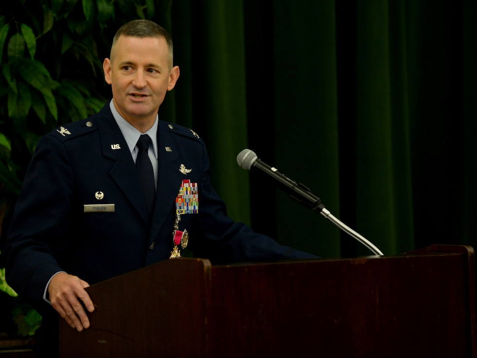 Col. Bradley Pyburn, 67th Cyberspace Wing commander, speaks to attendees during the wing's change of command ceremony at Joint Base San Antonio-Lackland, Texas, June 20, 2018. Pyburn relinquished command of the wing to Col. Melissa Cunningham. (U.S. Air Force photo by Tech. Sgt. R.J. Biermann)