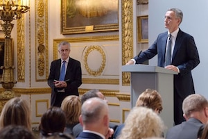 NATO Secretary General Jens Stoltenberg answers questions following a speech on the alliance at the Lancaster House in London.