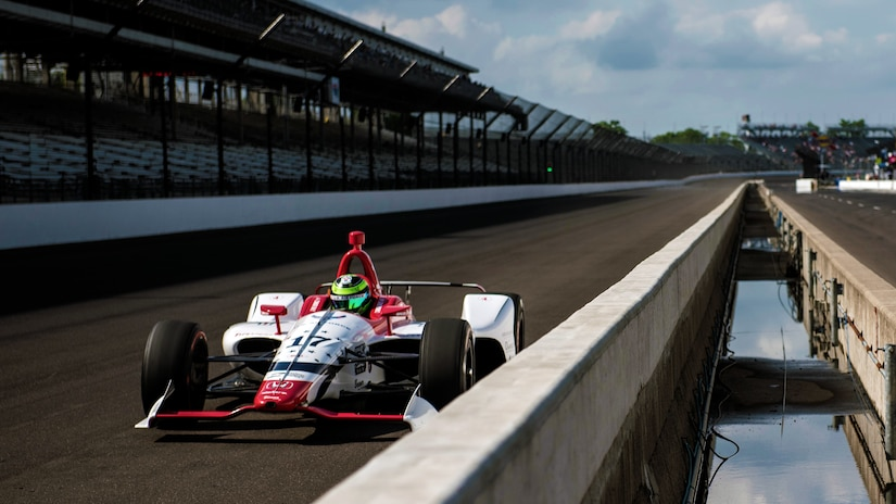 "Conor Daly, driver of the No. 17 U.S. Air Force Recruiting Service Thom Burns Racing Honda, makes his second qualifying attempt during ""bump day"" at Indianapolis Motor Speedway."