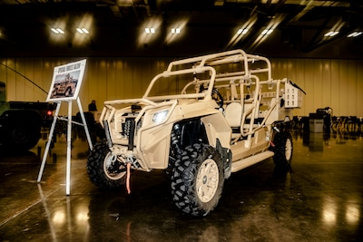 Several pieces of military equipment were on display inside the exhibit hall at the 2018 Defense Logistics Agency Land and Maritime Supplier Conference Exposition