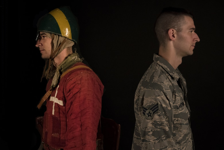 U.S. Air Force Senior Airman Benjamin Lanteigne, 628th Security Forces Squadron patrolman, as himself, right, and as Getulio D 'Amalfi, left, a solider from the Norman Kingdom of Sicily and a reenactment character he created.