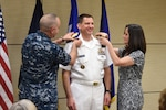 U.S. Navy Vice Adm. Dave Kriete assumes responsibility as deputy commander of U.S. Strategic Command (USSTRATCOM) from U.S. Air Force Gen. John Hyten, commander of USSTRATCOM, during a ceremony at Offutt Air Force Base, Neb., June 15, 2018. Kriete replaced Vice Adm. Charles Richard as USSTRATCOM deputy commander after receiving his third star earlier in the day. He previously served as the National Security Counsil director of strategic capabilities policy. U.S. Strategic Command has global responsibilities assigned through the Unified Command Plan that include strategic deterrence, nuclear operations, space operations, joint electromagnetic spectrum operations, global strike, missile defense, and analysis and targeting.