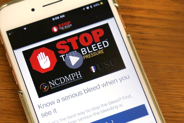 "The ""Stop the Bleed"" app, available for iPhone and Android, can help bystanders save lives in the event of an emergency. DoD photo"