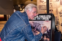 """Actor and filmmaker Matthew Modine, who played the role of the pilot in the 1990 movie """"Memphis Belle,"""" toured the National Museum of the U.S. Air Force and signed free autographs for the public on Saturday, June 16, 2018. (Contributed photo by Don Popp)"""
