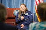 Navy Master Chief Petty Officer Reina Hockenberry addresses media at the Pentagon.