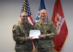 Lt. Col. Matthew Reagan, a project manager with the District in his civilian capacity and an officer in the Army Reserves, received a Meritorious Service Medal for his 9-month assignment as the District's Deputy Commander, while LTC Taneha Carter was deployed in support of the Mosul Dam Task Force.