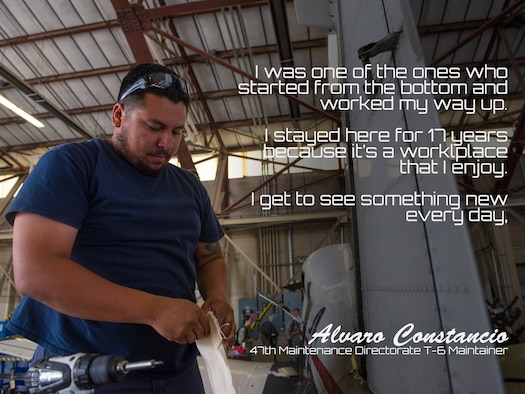 "Alvaro Constancio, 47th Maintenance Directorate T-6 Texan II maintainer, speaks about what it's like being one of Laughlin's maintainers, at Laughlin Air Force Base, Texas, June 20, 2018. First coming to the team in 2001 as a product of the ""Grow Your Own"" program, Constancio has been working hard to keep Laughlin's aircraft mission-ready and in the air. (U.S. Air Force graphic by Senior Airman Benjamin N. Valmoja)"