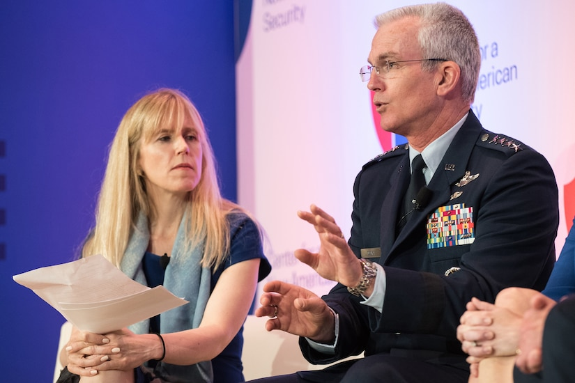 Air Force Gen. Paul J. Selva, vice chairman of the Joint Chiefs of Staff, speaks while sitting on stage beside a moderator.