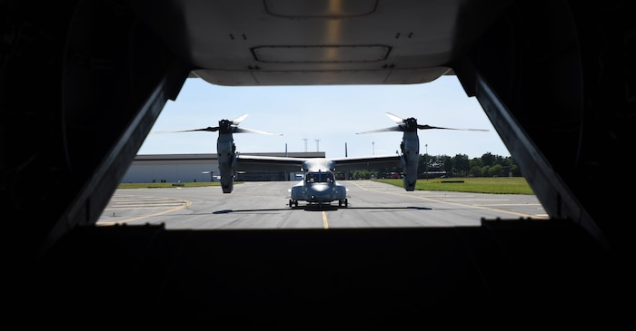 A U.S. Marine Corps MV-22 Osprey with Marine Medium Tiltrotor Squadron 774, Marine Aircraft Group 49, 4th Marine Air Wing, prepares for flight in support of an aerial aircraft refueling mission during the MAG-49 Combined Arms Exercise at Joint Base McGuire-Dix-Lakehurst, New Jersey, June 16, 2018. Joint Base MDL is the nation's only tri-service installation and home to all five branches, making it an ideal location for the MCAX, a training drill consisting of active duty, Guard and Reserve components.