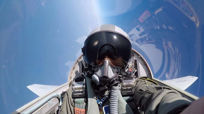 U.S. Air Force Airman 1st Class Brianna Lisner, 58th Fighter Squadron aerospace scheduler, takes a selfie in a T-38 Talon during an incentive flight June 7, 2018, at Eglin Air Force Base, Fla. (Courtesy photo)