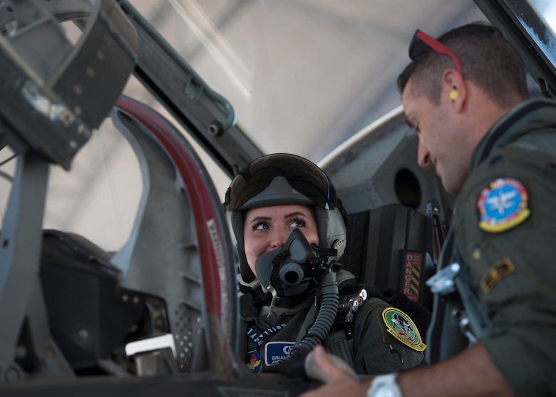 U.S. Air Force Airman 1st Class Brianna Lisner, 58th Fighter Squadron aerospace scheduler, listens to instruction June 7, 2018, at Eglin Air Force Base, Fla. On Lisner's own time, she has been working on earning her private pilot's license to show that aviation is what she wants to do. (U.S. Air Force photo by Airman 1st Class Emily Smallwood)