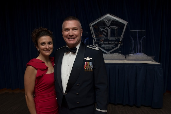 Col. Eric Dorminey (right) 21st Space Wing vice commander, and Jennifer (left), his wife, attend the 70th Air Force birthday ball event at Peterson Air Force Base, Colorado. Dorminey started his military career in 1992.