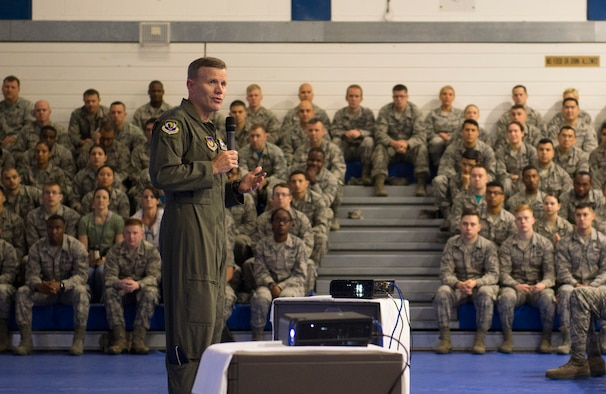 U.S. Air Force Gen. Tod D. Wolters, U.S. Air Forces in Europe and Air Forces Africa commander, talks to Airmen from the 48th Fighter Wing during an all call at Royal Air Force Lakenheath, England, June 22, 2018. Wolters explained the value of having an all-volunteer force and the importance of readiness, reinforcing the need to ensure Airmen are ready and resilient.  (U.S. Air Force photo/Airman 1st Class Shanice Williams-Jones)