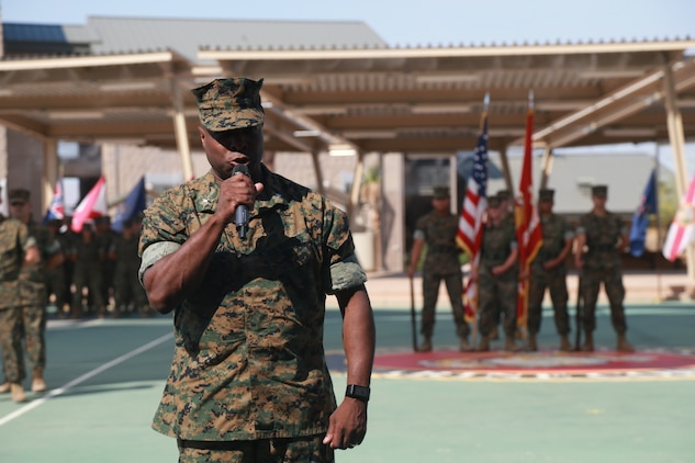 Lt. Col. Barian Woodward, off-going commanding officer, Communication Training Battalion, Marine Corps Communication-Electronics School, gives his remarks at a change-of-command ceremony aboard the Marine Corps Air Ground Combat Center, Twentynine Palms, Calif., June 13, 2018. During the ceremony, Woodward relinquished command of the battalion to Lt. Col. Russell Savatt. (U.S. Marine Corps photo by Lance Cpl. Preston L. Morris)