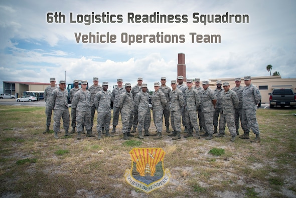 U.S Air Force Airmen assigned to the 6th Logistics Readiness Squadron Vehicle Operations team, paused for a photo at MacDill Air Force Base, Florida, June 21, 2018.