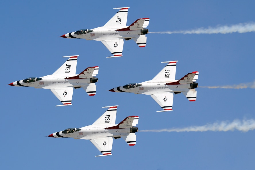 """The U.S. Air Force Thunderbirds perform the """"Diamond pass and review"""" at Travis AFB, California on July 30, 2011.   (U.S. Air Force photo/Staff Sgt Richard Rose Jr.)"""