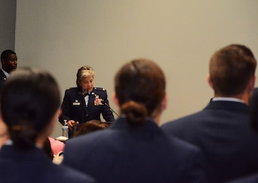 U.S. Air Force Col. Kari Stone, 17th Medical Operation Squadron outgoing commander, bids farewell during the MDOS Change of Command at the Event Center on Goodfellow Air Force Base, Texas, June 21, 2018. Stone expressed gratitude to Airmen of the 17th MDOS for their commitment to service. (U.S. Air Force photo by 2nd Lt. Wyatt Thomas/Released)