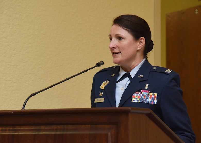 U.S. Air Force Col. Beatrice Dolihite, incoming 81st Medical Group commander, delivers remarks during the 81st MDG change of command ceremony in the Bay Breeze Event Center at Keesler Air Force Base, Mississippi, June 22, 2018. Dolihite assumed command from Col. Jeannine Ryder, outgoing 81st MDG commander. (U.S. Air Force photo by Kemberly Groue)