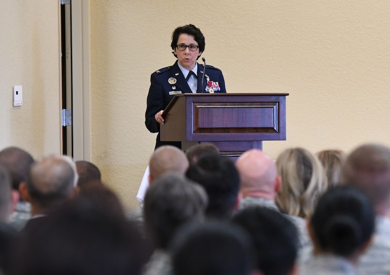 U.S. Air Force Col. Jeannine Ryder, outgoing 81st Medical Group commander, delivers remarks during the 81st MDG change of command ceremony in the Bay Breeze Event Center at Keesler Air Force Base, Mississippi, June 22, 2018. Ryder relinquished command of the 81st MDG and will be heading to the Air Force Material Command, Wright-Patterson Air Force Base, Ohio, where she will be the surgeon general. (U.S. Air Force photo by Kemberly Groue)