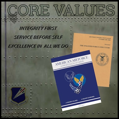 Graphic of two booklets with words Core Values, Integrity First, Service Before Self, Excellence in All we Do on same graphic.