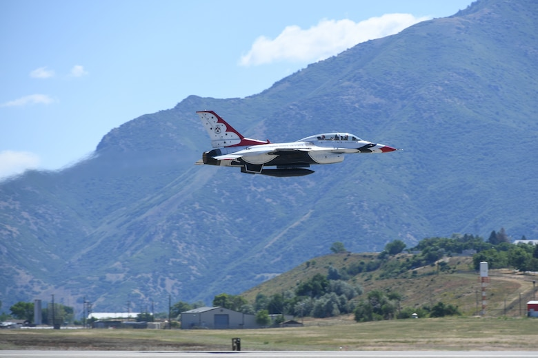 Sergeant Aaron Thompson, Utah Washington County Sheriff, takes off with Maj. Randen Felker, U.S. Air Force Thunderbirds pilot, June 22, 2018, at Hill Air Force Base, Utah. Thompson was selected to fly with the Thunderbirds as part of their Hometown Hero program. (U.S. Air Force photo by Cynthia Griggs)