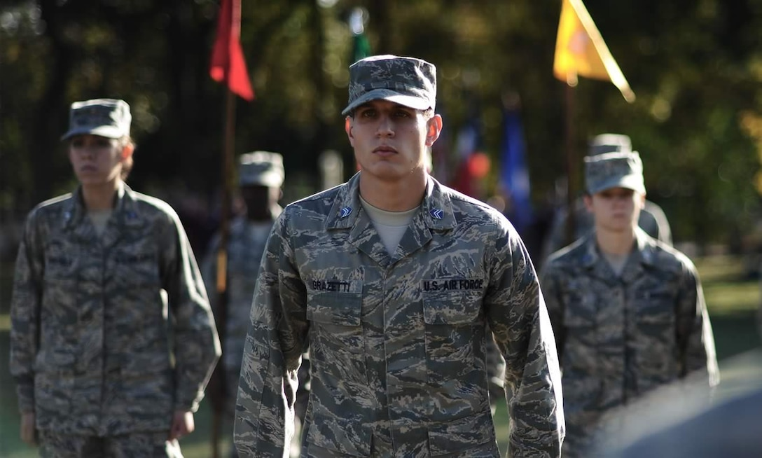 Air Force Reserve Officer Training Corps cadets in formation