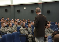 Dr. Jerry Coats, Executive Director of Innovation, Future Learning and Assessments, gives a presentation about the continuum of learning at Osan Air Base, Republic of Korea on June 14, 2018. Dr. Coats and several command chief master sergeants are traveling to different bases around the world to explain changes in how Airmen are going to be trained throughout their career. (U.S. Air Force photo by Staff Sgt. Tinese Jackson)