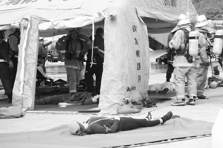 Training in Okinawa Japan with the Japanese Ground Self Defense Force and the Local Emergency Responders.  The training consisted of casualty evacuation, and response to an aircraft mishap.