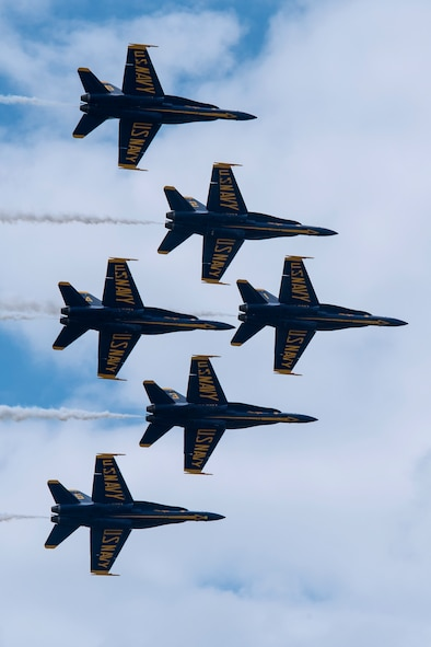 The U.S. Navy Blue Angels perform at the Vectren Dayton Air Show on 23 June 2018. The mission of the Blue Angels is to showcase the pride and professionalism of the United States Navy and Marine Corps by inspiring a culture of excellence and service to country through flight demonstrations and community outreach. (U.S. Air Force photo by Ken LaRock)