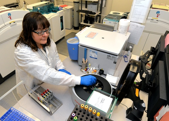 Bonnie Lofthouse, 88th Diagnostics and Therapeutics Squadron lab flight medical technician, performs patient blood sample testing. The 88th Medical Group received The Joint Commission accreditation and for the first time, received Primary Care Medical Home certification. A team of surveyors from The Joint Commission were onsite at the medical center February 13-16, assessing the center for compliance in standards of hospital practices. (U.S. Air Force photo by Al Bright)
