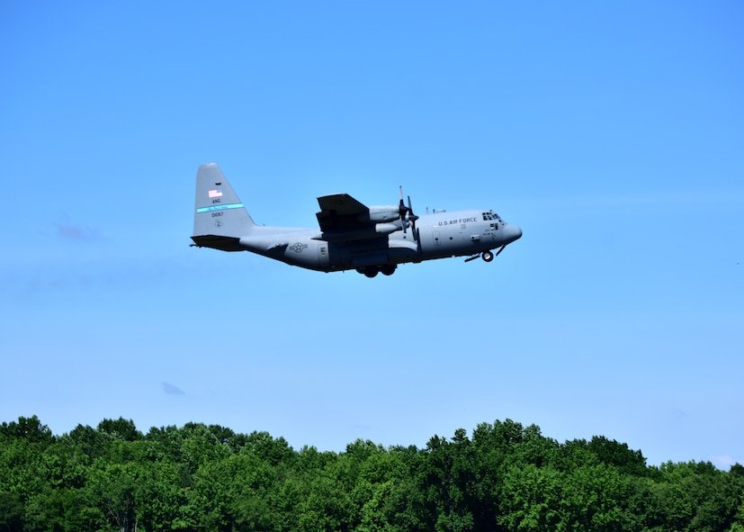 A C-130H takes off from the flightline at New Castle Air National Guard Base, Del., June 25, 2018. More than one hundred Airmen assigned to the 166th Airlift Wing deployed with C-130H aircraft to Southwest Asia in support of the United States Central Command. (U.S. Air National Guard photo by Senior Airman Katherine Miller)