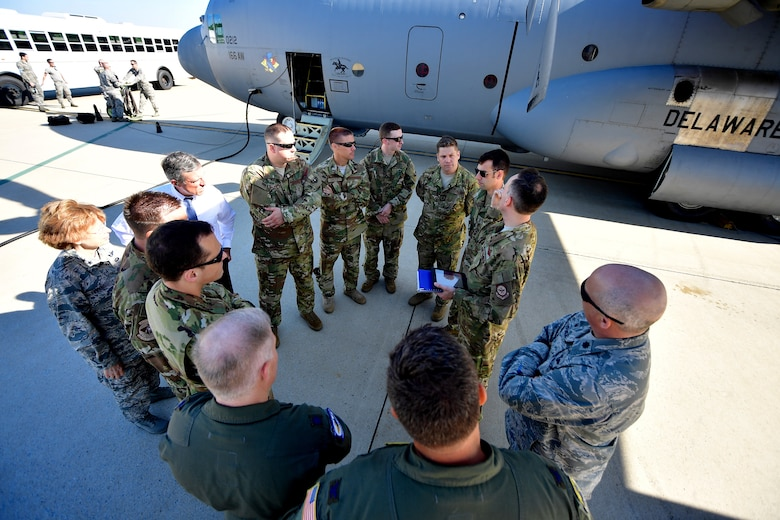 Delaware Gov. John Carney speaks with Airmen prior to their departure for a deployment at New Castle Air National Guard Base, Del., June 25, 2018. In addition to Gov. Carney, The Adjutant General - Air, Delaware National Guard, Maj. Gen. Carol Timmons attended the farewell event to send off deploying ANG Airmen. (U.S. Air National Guard photo by Staff Sgt. John Michaels)