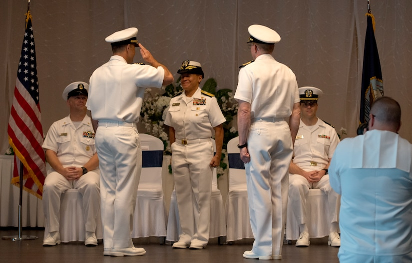 U.S. Navy Capt. Kevin Byrne, former commander of Naval Nuclear Power Training Command, accepts the position as deputy commander of Joint Base Charleston and commanding officer of Naval Support Activity Charleston, during a change of command ceremony June 25, 2018, at the Red Bank Club, Joint Base Charleston's Naval Weapons Station.