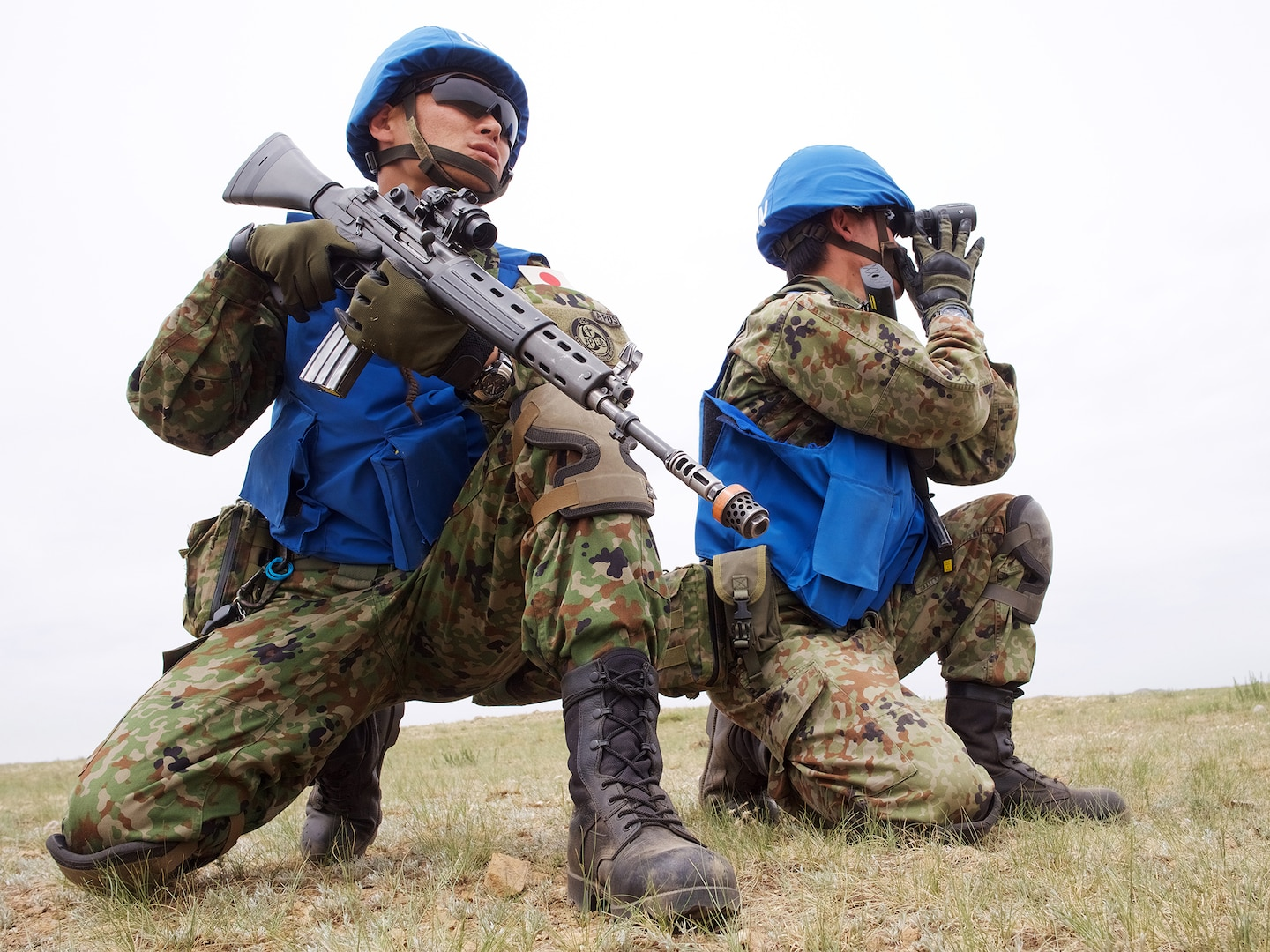 Japan Ground Self-Defense Force soldiers train for UN patrolling in Mongolia