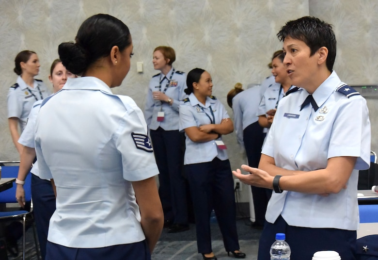 "Airmen attend an Air Force-specific breakout discussion at the 2018 Joint Women's Leadership Symposium June 22, 2018, in San Diego, Calif. This year's theme ""The Power Within You"" featured practical workshops, joint discussion boards, an international speakers panel and service specific breakout sessions intended to promote personal and professional development. (U.S. Air Force photo by 1st Lt. Annabel Monroe)"