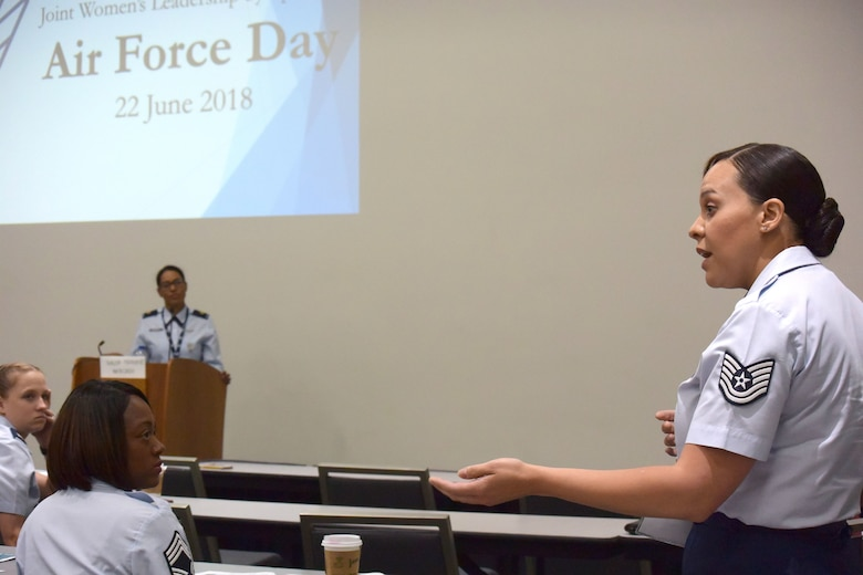 "An attendee shares their experience at the 2018 Joint Women's Leadership Symposium June 22, 2018, in San Diego, Calif. This year's theme ""The Power Within You"" featured practical workshops, joint discussion boards, an international speakers panel and service specific breakout sessions intended to promote personal and professional development. (U.S. Air Force photo by 1st Lt. Annabel Monroe)"
