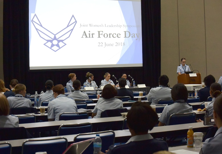 "Speakers share insight during an Air Force-specific breakout discussion at the 2018 Joint Women's Leadership Symposium June 22, 2018, in San Diego, Calif. This year's theme ""The Power Within You"" featured practical workshops, joint discussion boards, an international speakers panel and service specific breakout sessions intended to promote personal and professional development. (U.S. Air Force photo by 1st Lt. Annabel Monroe)"