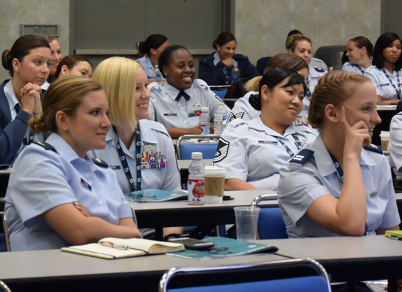 "Attendees listen to panel members speak at the 2018 Joint Women's Leadership Symposium June 22, 2018, in San Diego, Calif. This year's theme ""The Power Within You"" featured practical workshops, joint discussion boards, an international speakers panel and service specific breakout sessions intended to promote personal and professional development. (U.S. Air Force photo by 1st Lt. Annabel Monroe)"