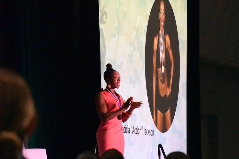 "Air Force veteran, Olympian and motivational speaker, Laticia ""Action"" Jackson kicked off the 2018 Joint Women's Leadership Symposium June 21, 2018, in San Diego, Calif. This year's theme ""The Power Within You"" featured practical workshops, joint discussion boards, an international speakers panel and service specific breakout sessions intended to promote personal and professional development. (U.S. Air Force photo by 1st Lt. Annabel Monroe)"