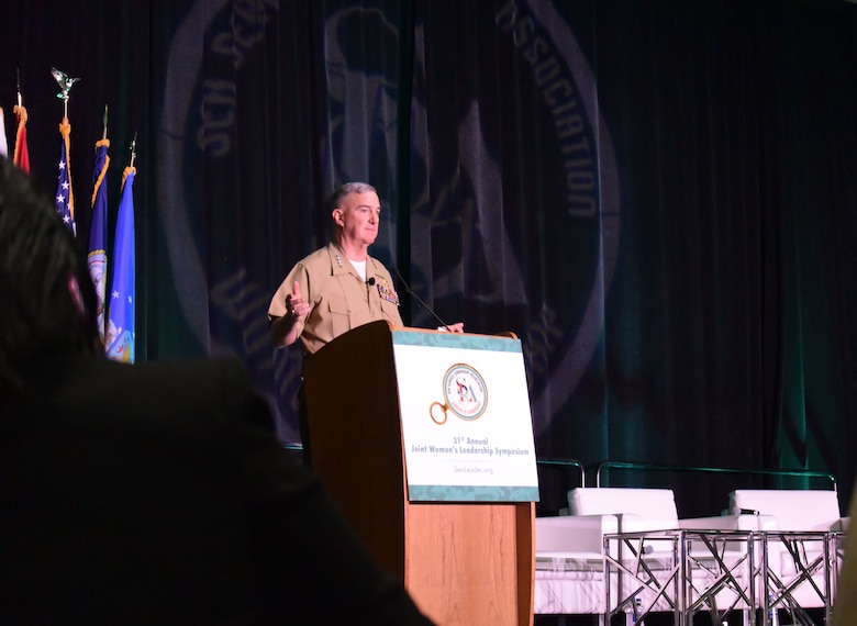 The Assistant Commandant of the Marine Corps, Gen. Glenn M. Walters, addresses attendees at the 2018 Joint Women's Leadership Symposium June 21, 2018, in San Diego, Calif. The JWLS included attendees from the U.S. Air Force, Army, Navy, Marine Corps, and Coast Guard and 20 other countries. (U.S. Air Force photo by 1st Lt. Annabel Monroe)