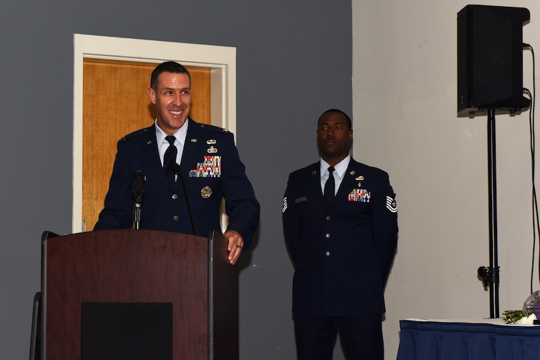 U.S. Air Force Col. Jason Beck, 17th Mission Support Group commander, speaks during the 17th Contracting Squadron Change of Command ceremony at the Event Center on Goodfellow Air Force Base, Texas, June 25, 2018. Beck thanked Lt. Col. John Travieso, 17th CONS outgoing commander, and welcomed Maj. Michael Quinn, 17th CONS incoming commander, who is coming to Goodfellow from the Pentagon. (U.S. Air Force photo by Airman 1st Class Zachary Chapman/Released)