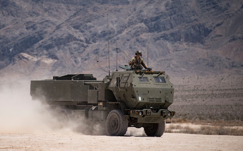An M142 High Mobility Artillery Rocket System(HIMARS) assigned to 3rd Battalion, 321st Field Artillery Regiment, Fort Bragg, North Carolina, travels on the Nevada Test and Training Range June 9, 2018. The HIMARS is typically operated by a crew made up of a driver, gunner, and launcher chief. (U.S. Air Force photo by Airman 1st Class Andrew D. Sarver)