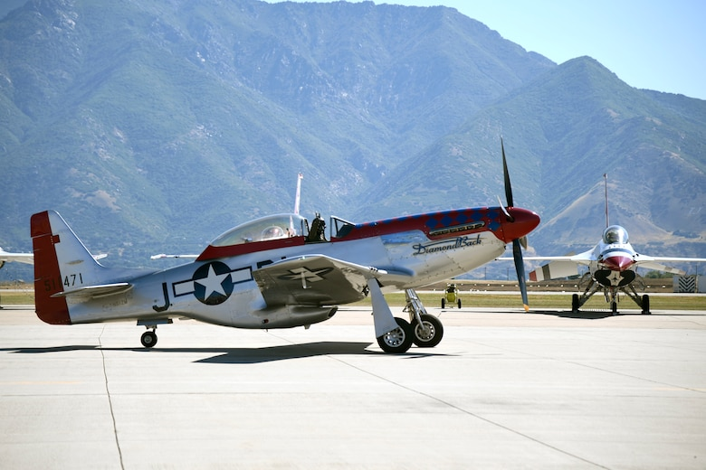 A P-51 Mustang sits on the airfield June 24, 2018, at Hill Air Force Base, Utah. (U.S. Air Force photo by Todd Cromar)